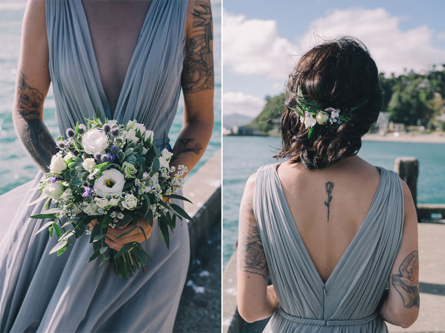 Beautiful Beach Wedding - Blue Wedding Dress - Bride with Tattoos - Sarah McEvoy New Zealand Wedding Photographer - New Zealand Waterside Wedding | Confetti.co.uk