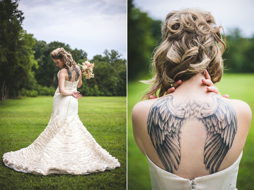 Bride with Angel Wings Tattoo on Back - Punk Princess Bride Wedding Styled Shoot from Maddie K Doucet Photography | Confetti.co.uk