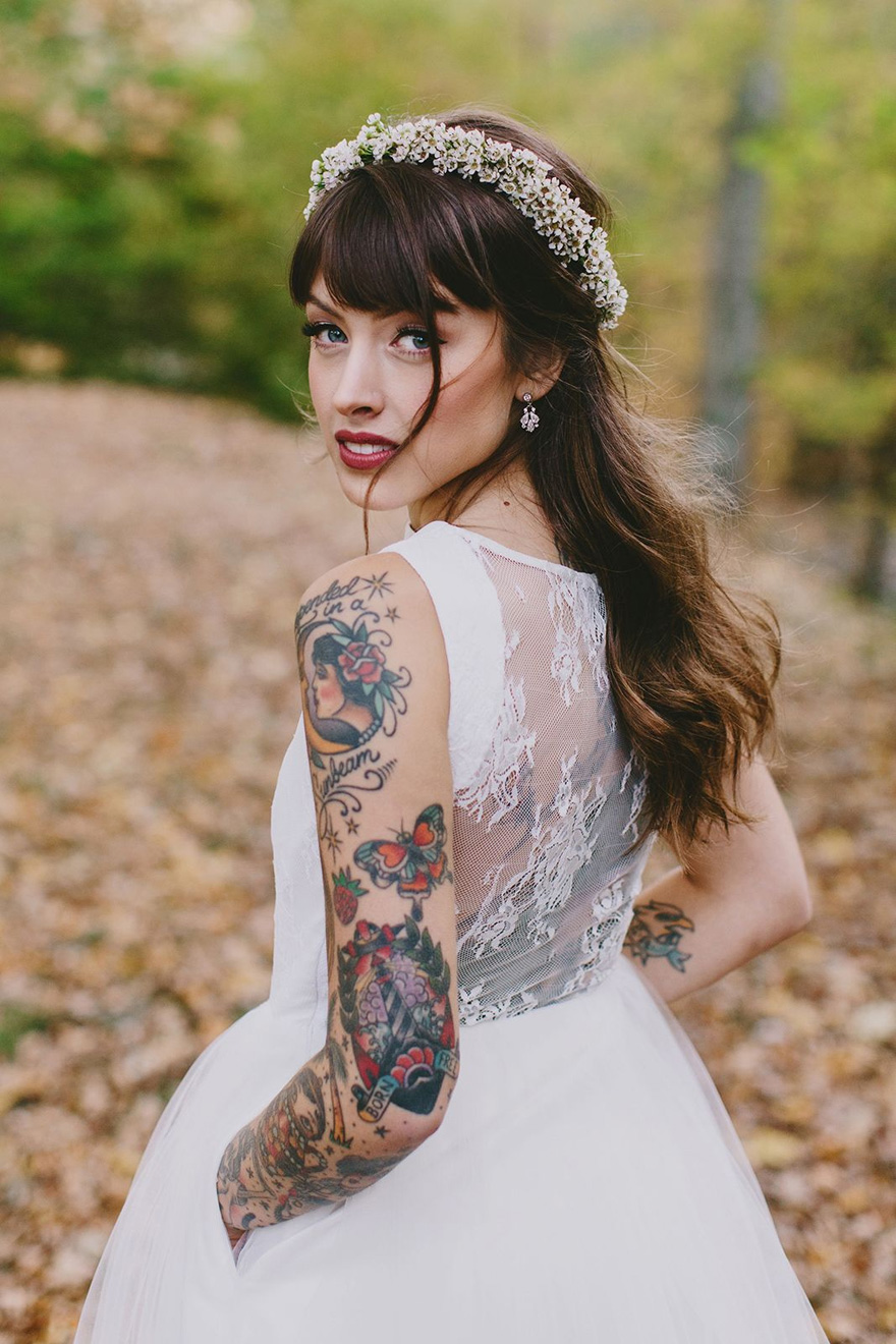 Bride with a Sleeve Tattoo - Christine Mcmillen Woods Wedding by Phil Chester Photography   Confetti.co.uk