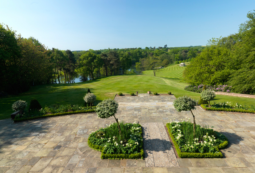 Delamere Manor Patio - View from the Patio - Delamere Manor South Facing Terrace | Confetti.co.uk