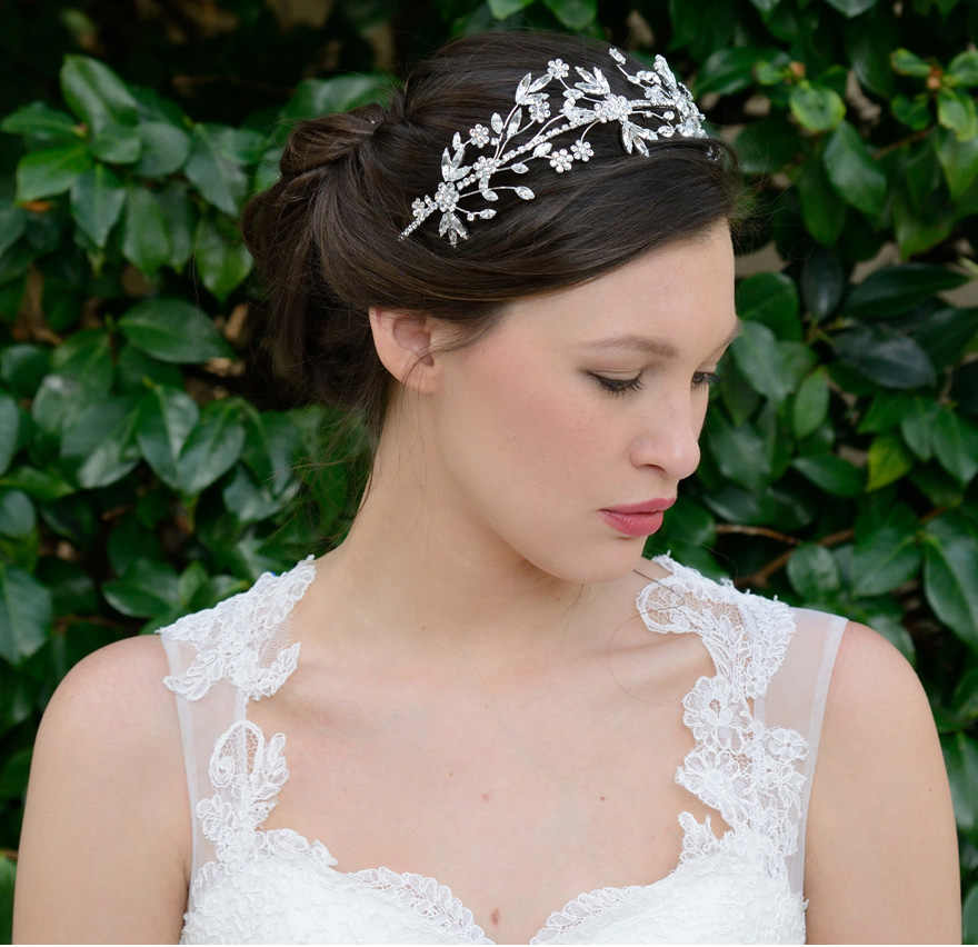 Demetria Tiara by Ivory and Co - Floral and Leaf Pattern Silver Tiara | Confetti.co.uk