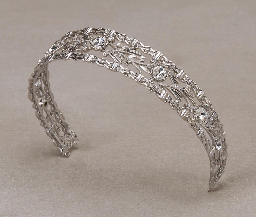 Palau Corona by Pronovias - Beautiful Wedding Tiara with Aged Silver and Gemstones - Thick Wedding Tiara - Bridal Headband Style Accessories | Confetti.co.uk