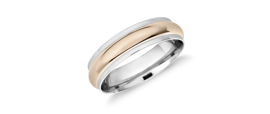 Platinum and Rose Gold Men's Wedding Rings - Monique Lhuillier Milgrain Edge Two-Tone Band in Platinum and 18k Rose Gold from Blue Nile | Confetti.co.uk