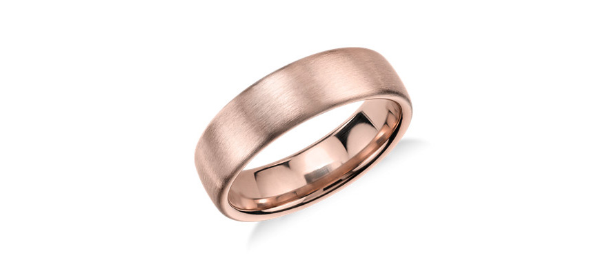 Rose Gold Men's Wedding Rings - Matte Modern Comfort Fit Wedding Ring in 14k Rose Gold by Blue Nile | Confetti.co.uk