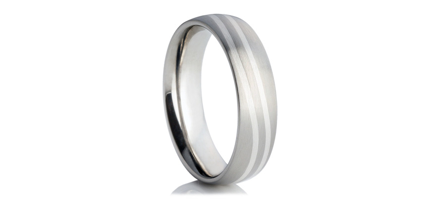 Steel Wedding Ring with Two Wavy Silver Inlays from Wedding Rings Direct - Steel Wedding Rings for Men - Men's Wedding Bands | Confetti.co.uk