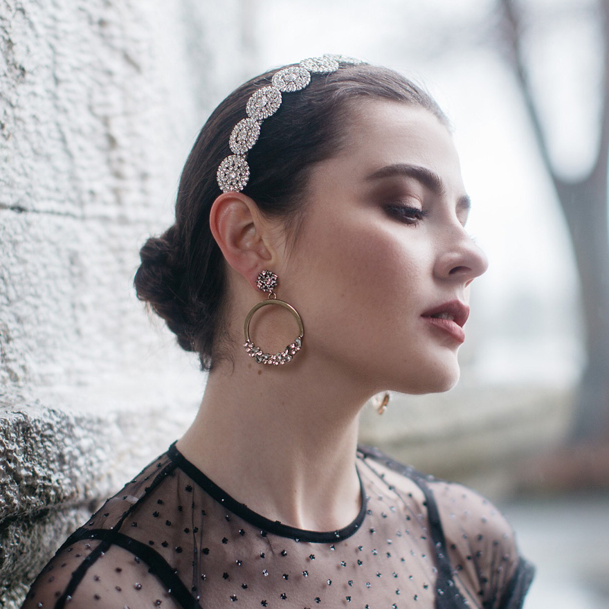 The Saunton Wedding Headband by Claire Austin England - Geometric Crystal Headband | Confetti.co.uk