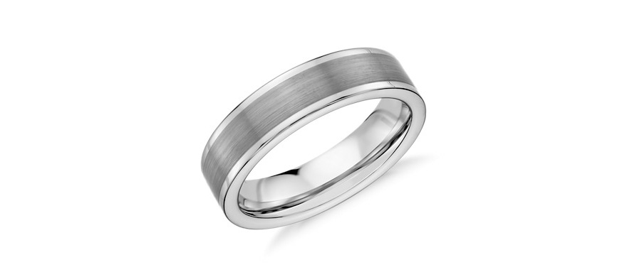 Tungsten Wedding Rings For Him - Tungsten Men's Wedding Bands - Satin Finish Wedding Ring in Grey Tungsten Carbide by Blue Nile | Confetti.co.uk