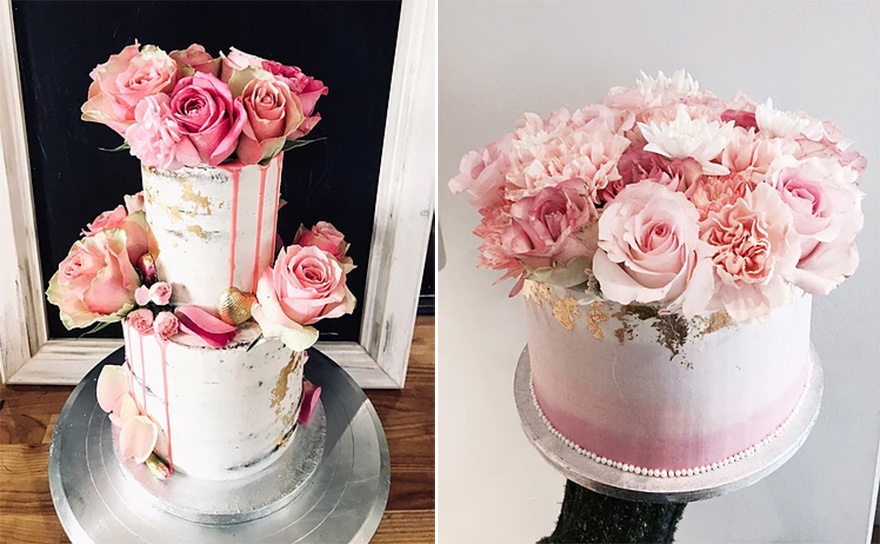 Beautiful Pink Roses and Gold Foil Semi Naked Wedding Cake and Ombre Pink and Roses Sweet Little Engagement Cake by From Kimmies Kitchen | Confetti.co.uk