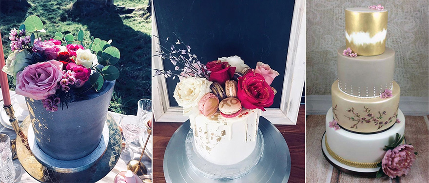 Black and Gold Rock Chic Wedding Cake and Painted Gold Macaron Spring Blossom Painted Wedding Cakes by From Kimmies Kitchen and Pink Grey and Gold Gilded Peony Wedding Cake by Dragons and Daffodils Cakes | Confetti.co.uk