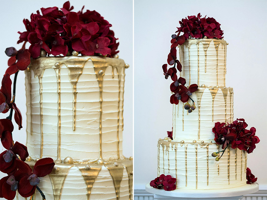 Drip Cake Wedding Cake by Ann's Designer Cakes - Dripping Metallic Gold Wedding Cake Icing - White Red and Gold Iced Wedding Cake | Confetti.co.uk