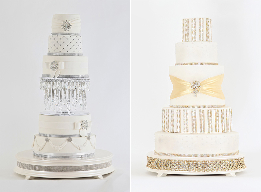 Jewelled Silver Chandelier Cake and Royal Gold Diamonds and Pearls Cake by Sweet Hollywood | Confetti.co.uk