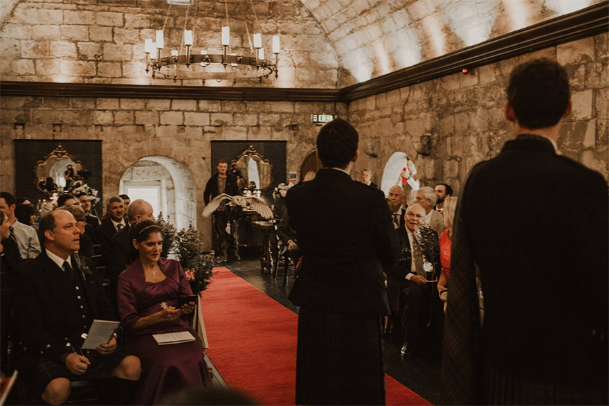 Owl Delivering the Wedding Rings - Owl Ring Bearer - Harry Potter Inspired Scottish Castle Wedding by The Curries Photography | Confetti.co.uk
