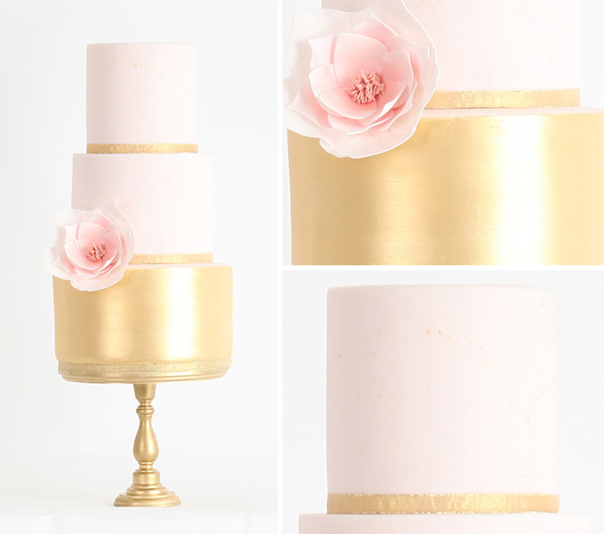 Petite Chic Metallic Gold Wedding Cake from Sweet Hollywood Cakes - Pink and Gold Metallic Wedding Cake - Miniature Wedding Cake Idea - Pretty Minimalist Wedding Cake with Flower | Confetti.co.uk