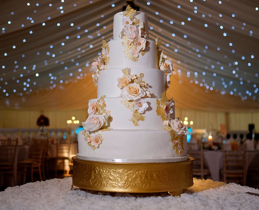 Rose Gold Wedding Cake by Sweet Hollywood - Peach and Metallic Gold Cake - Roses and Butterflies Wedding Cake | Confetti.co.uk