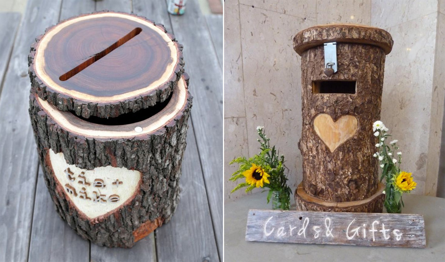 Tree Stump Wedding Post Box DIY by Instructables and Rustic Tree Trunk Post Box by Sweet Pea and Ivy | Confetti.co.uk
