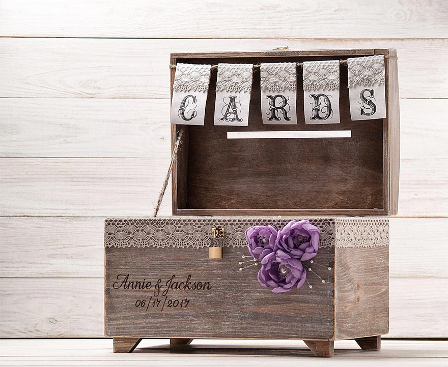 Wooden Chest Wedding Post Box - Wedding Card Box with Lock and Key by InesesWeddingGallery on Etsy | Confetti.co.uk