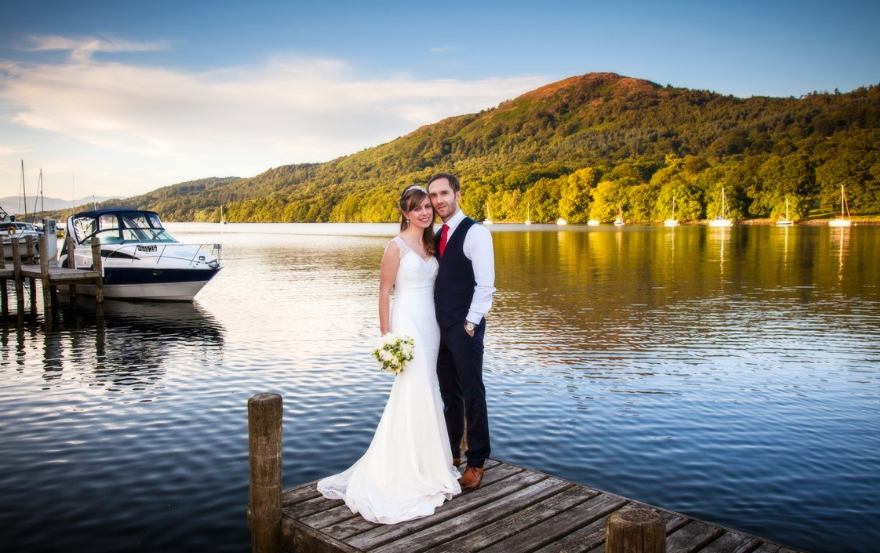 newlyweds at Lakeside hotel