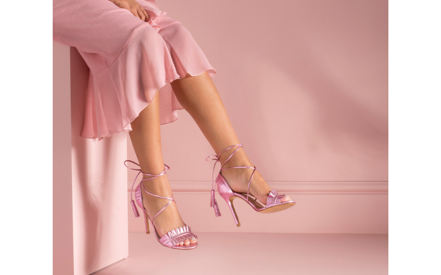 strappy pink wedding shoes