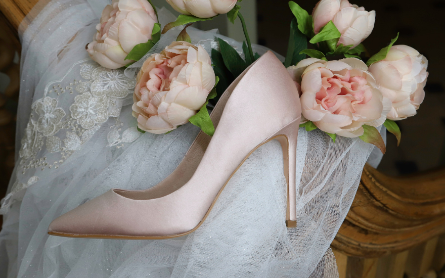 light pink satin court shoes