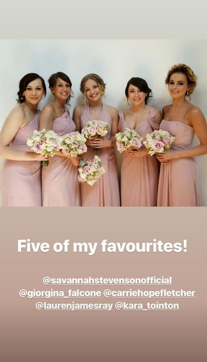 Blush pink bridesmaid dresses for Giovanna and Tom Fletcher's wedding
