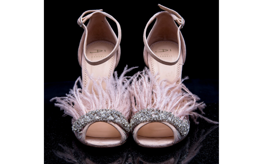 open toe pink wedding shoes with feathers