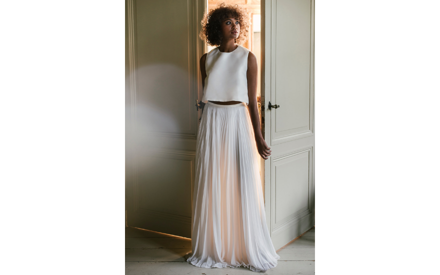 relaxed two piece wedding dress
