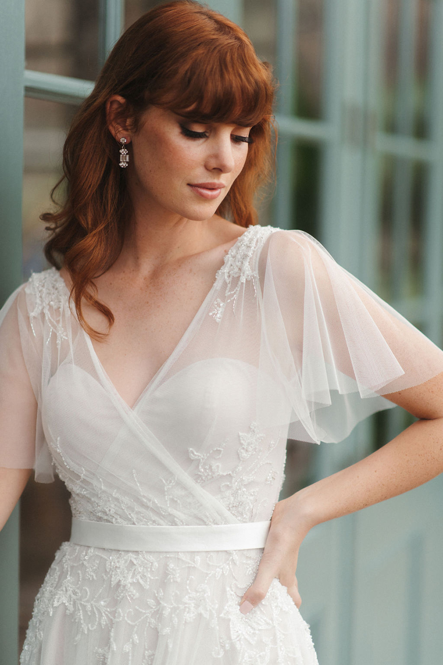 flutter-sleeve-wedding-dress-for-older-brides