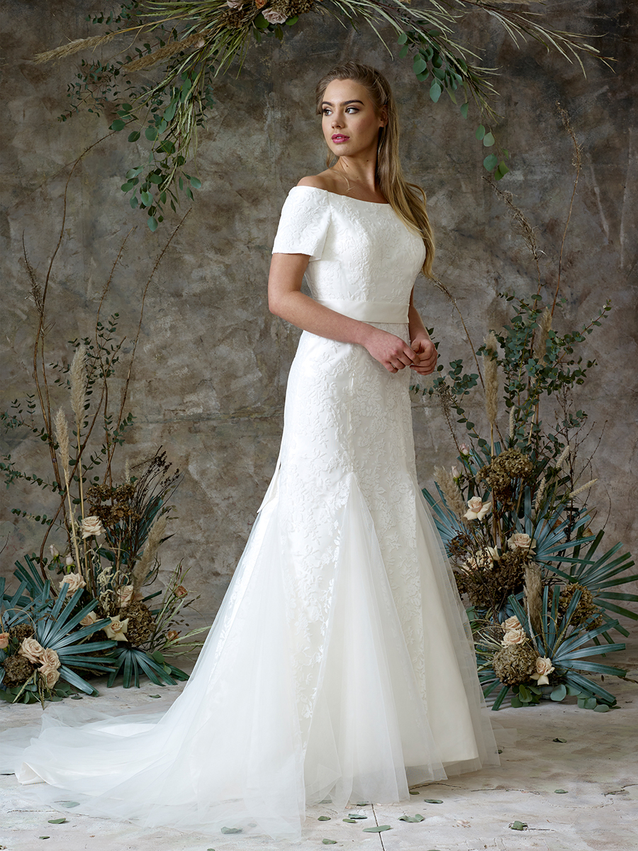 off-the-shoulder-sleeved-wedding-dress