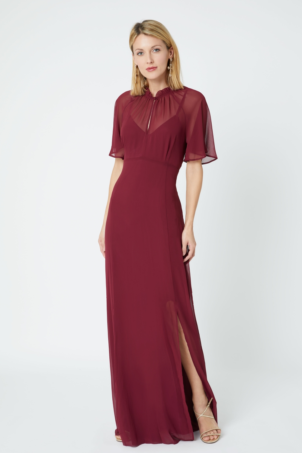 burgundy-bridesmaid-dress-with-sleeves