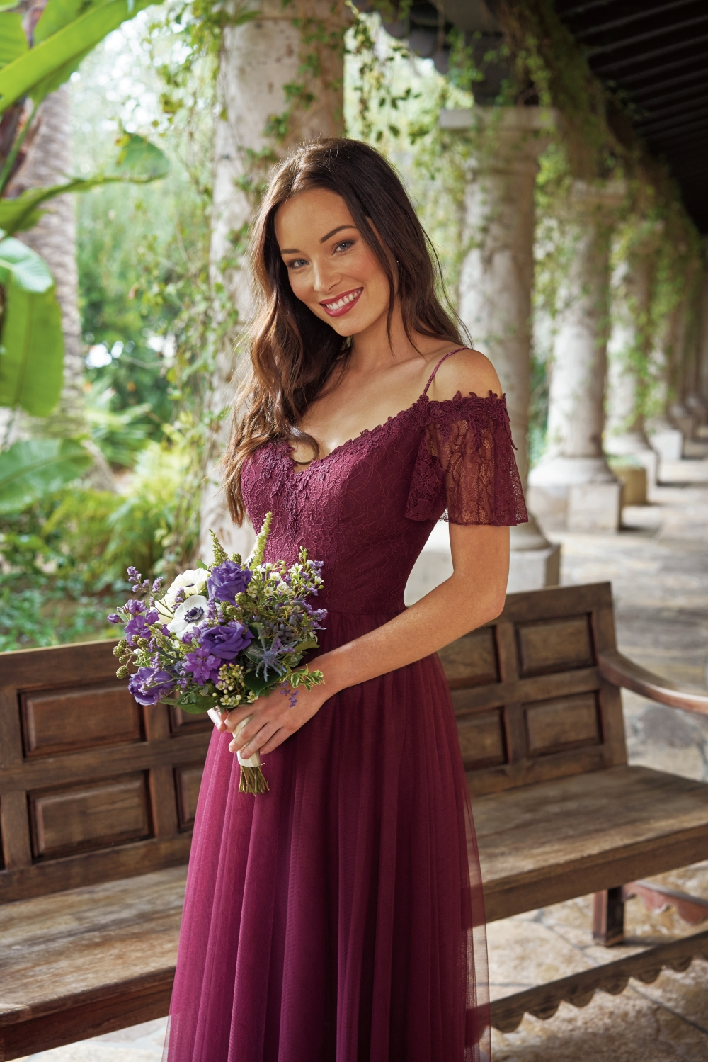 off-the-shoulder-burgundy-bridesmaid-dress