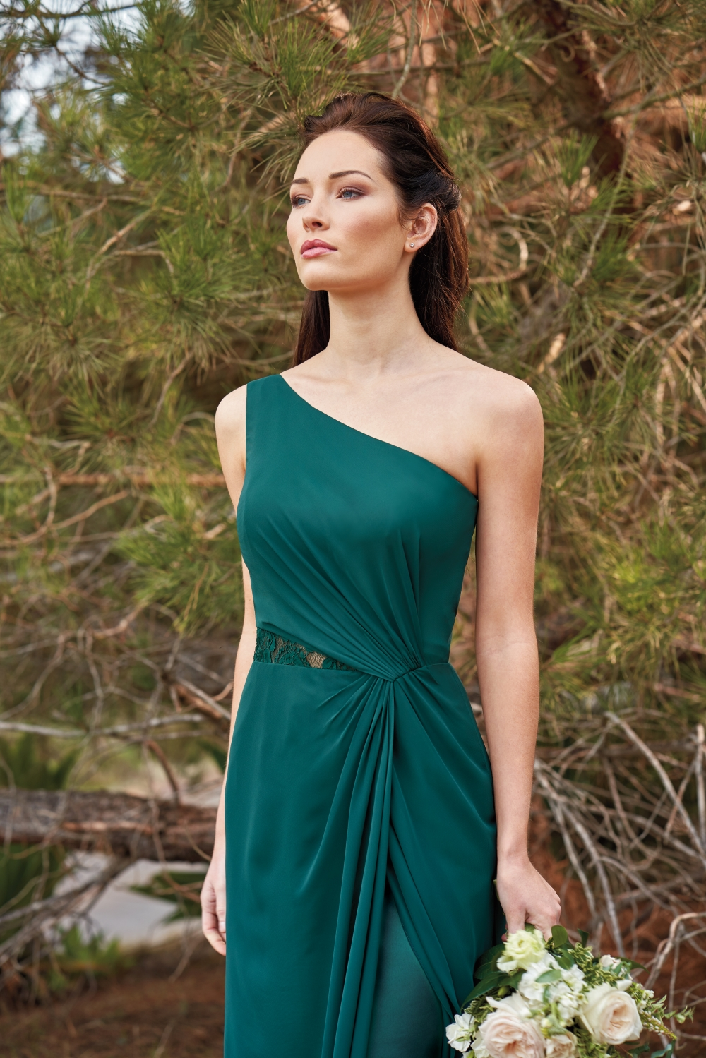 green-one-shoulder-bridesmaid-dress