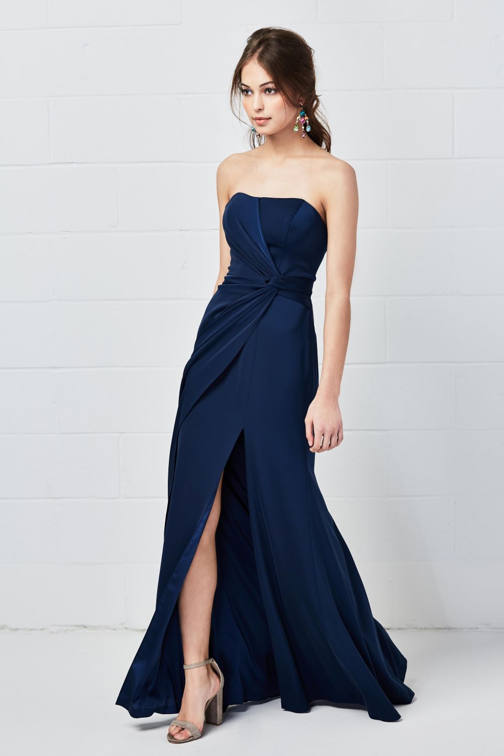 navy-blue-strapless-bridesmaid-dress