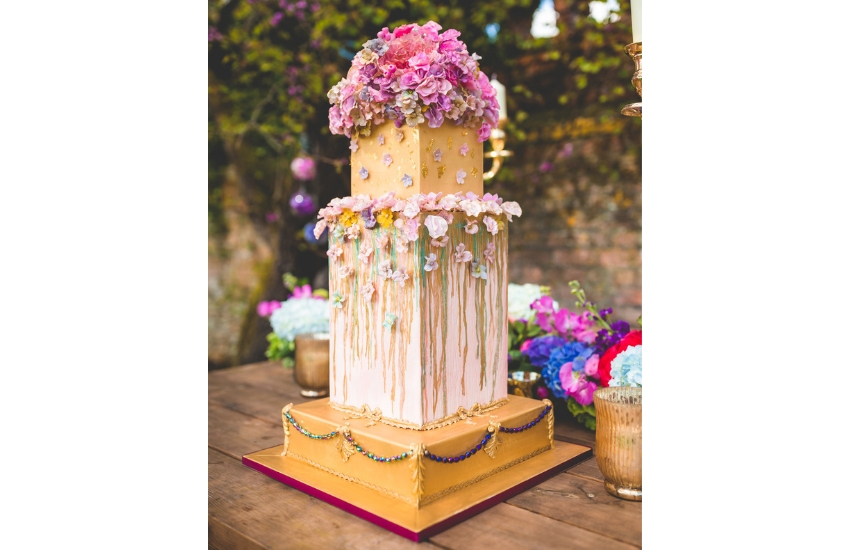 gold-pink-floral-wedding-cake
