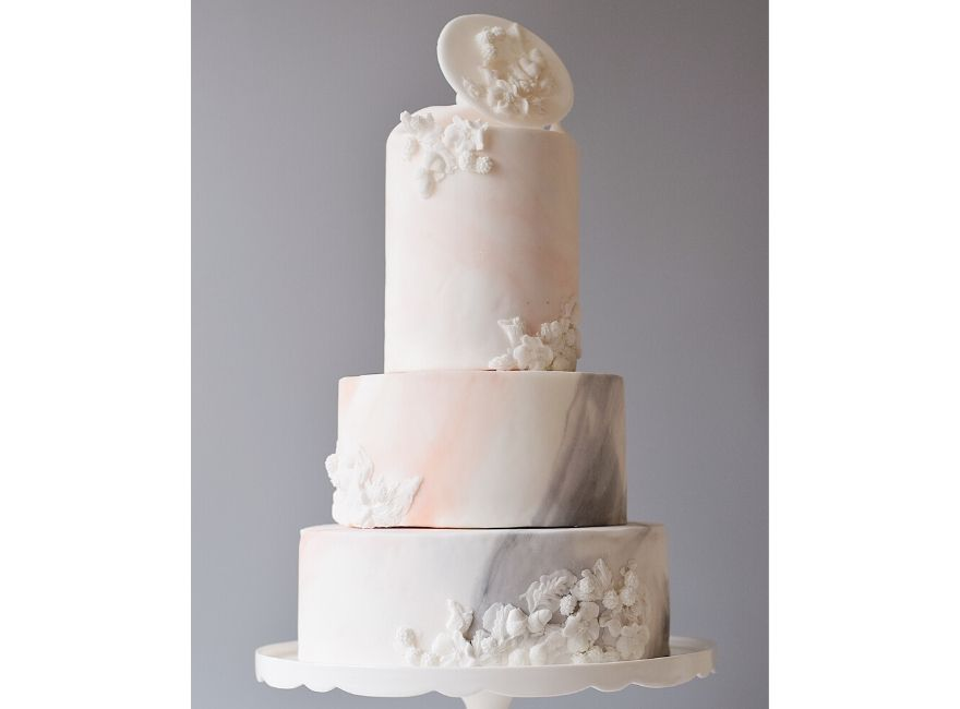Pink and grey tiered wedding cake
