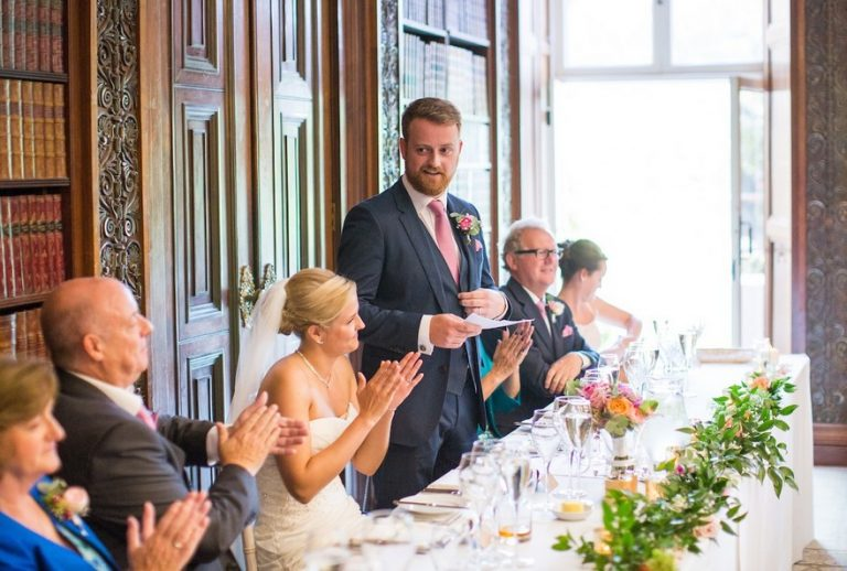Groom's speech being given at a wedding