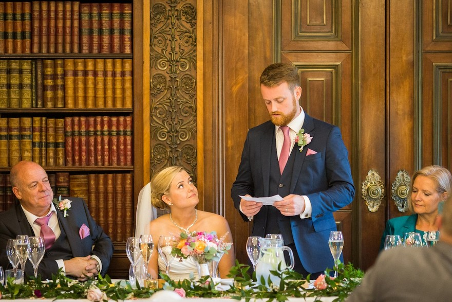 Groom's speech being given to bride