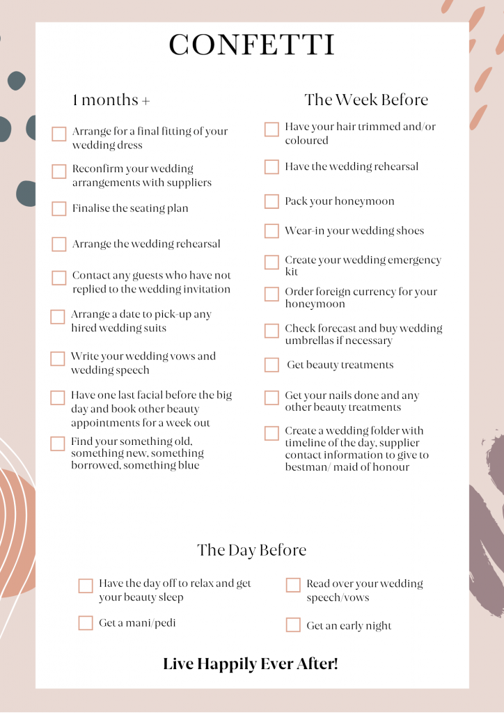 second page of wedding planning checklist
