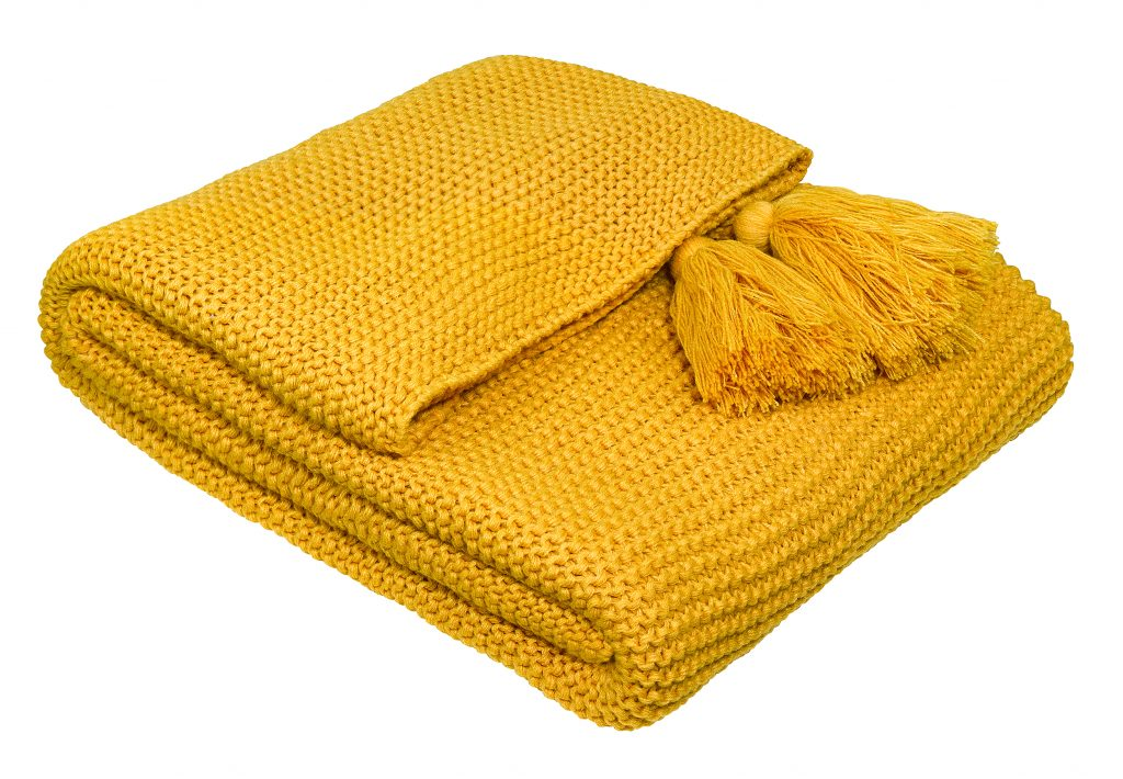fox-ivy-bumblebee-yellow-knitted-throw